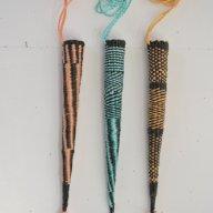 2015 Pokeys ( knitting sheaths). Found ropes. 48 x 5 cm each